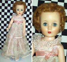 """20"""" American Character Doll With Earrings Pink Lace Gown Hose White Shoes Blond~"""