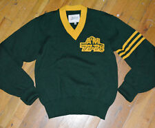 *1970's A&M RECORDS '77-'78* vtg green wool letterman varsity sweater shirt (S)