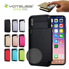 iPhone 7 8 X Plus Shockproof Slide Card Tough Hard Case Cover For Apple iPhone X