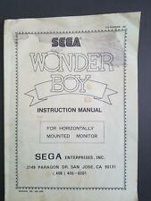 Original Sega Wonder Boy Instruction Manual Arcade Game  VERY RARE/HARD TO FIND