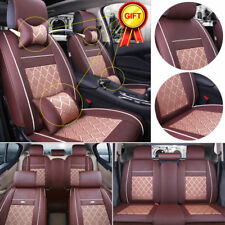 Full Set Deluxe PU Leather 5-Seats Car Seat Cover Cushion Front & Rear w/Pillows