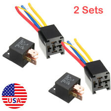 Universal 2 Sets 12V 80A 5Pin DC AMP SPDT Car Relay w/Socket Starter Auto Relay