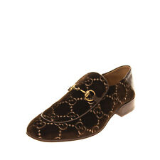 RRP €825 GUCCI Velour & Leather Loafer Shoes EU44 UK10 US10.5 Horsebit Slip On