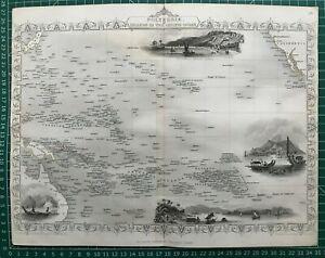 1851 Antique Map; Polynesia / Pacific Islands - John Tallis / Rapkin