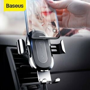 Baseus Air Vent Mount Qi Wireless Charger Car Phone Holder Stand for iPhone 12
