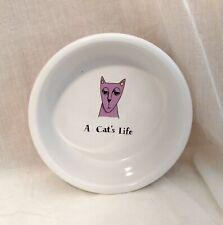 "Ursula Dodge Cats ""A Cat's Life"" Food Water Bowl Dish Signature Stoneware 5"""