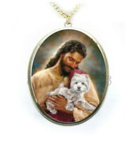 Westie West Highland Terrier Dog Jesus Porcelain Cameo Necklace Religious Christ