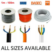 3 Core Round PVC Wire 0.5 0.75 1 1.5 2.5mm Flex Cable BLACK WHITE ORANGE 3183Y