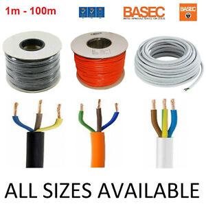3 Core Round PVC Wire 0.5 0.75 1 1.5 2.5mm Flex Cable BLACK WHITE ORANGE 3183Y