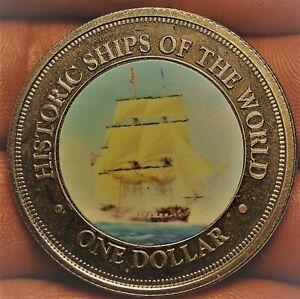 Cook Îles Dollar,2003 Gem UNC ~ Seulement Année~ Historique Navire Constitution~