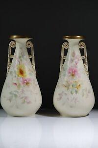 Antique Royal Worcester Pair Grainger Worcester China Works Vase Circa 1892 AC6