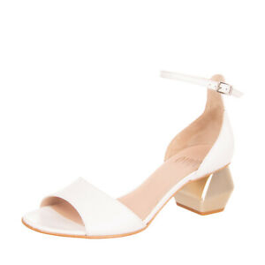 RRP €125 OVYE' By CRISTINA LUCCHI Leather Ankle Strap Sandals EU38 UK5 US8 Heel