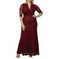 langes Abendkleid Ballkleid Spitze Mode für Mollige Partykleid Kleid 44-56 K009