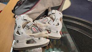 SFR Ice Skates 9F - 12F White Pink Kids Childrens Boots (Hockey Type) Skating