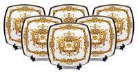 """Royalty Porcelain White 10"""" Dinner Plates, Medusa Greek Key 24K Gold, Set of 6"""