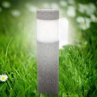 Lampe Solaire Pierre Pilier Blanc Led Jardin Éclairage Extérieur Luminaire Décor