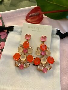 STUNNING Kate Spade NY 14K Gold Filled Chandelier Earrings in CORAL PINK BLUSH