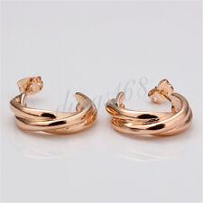 18K Rose Gold Filled Faddish Korean Style 18mm Hoop Stud Earrings Jewelry H076