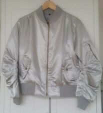 08422051cc8 Bomber Jacket Size S Womens Silver Grey - Gold Zip   Poppers Warm Christmas