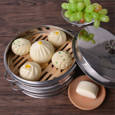 3 Tiers Food Steamer Natural Dim Sum Basket Rice Pasta Cooker With Lid 22CM OZ