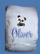 Personalised Baby Blanket Cot Pram Panda Bear Any Name 75cmx90cm Gift Embroidery
