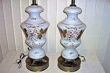 "Pair Vintage 1950s German Table Lamps Bavarian Bristol Hand Blown Glass 34"" 5316"