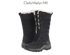 NEW CLARKS MAZLYN MILL BLACK TALL WINTER BOOTS WOMENS 7 INSULATED