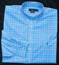 New 5XB 5XL BIG 5X POLO RALPH LAUREN Men button up down dress shirt blue pink 21