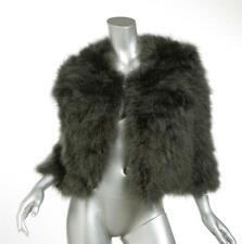 JOCELYN Womens Dark Green Feather Bolero Cropped 3/4 Sleeve Jacket S NEW $395