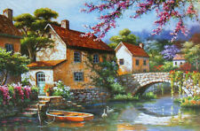 1000 piece House River Flower Jigsaw Puzzle Intelligence Educational Toy Gift