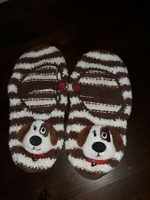 Ladies Novelty Knitted Sz 7 Dog Slippers With Bells. In great Used Condition.