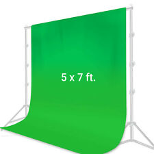 [1 x] 5 x 7 ft. Green Photo Muslin Backdrop Collapsible Background Chroma-Key