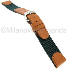 19mm Hadley Roma Swiss Army Style Green & Tan Mens Watch Band Regular 866