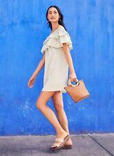 Dorothy Perkins Womens Green Double Frill Bardot Mini Dress Short Sleeve Casual
