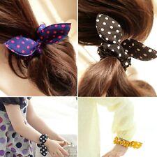 Women Girl Rabbit Ear Scrunchie Hair band rope Elastic Tie Ponytail Holder