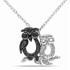 Amour Sterling Silver Black Diamond Owl Necklace
