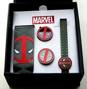 Marvel Comics Deadpool Cuff Links Money Clip Tie Bar 3 Pc Gift Set New NOS Box