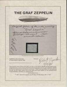 """D1648: Actual 1"""" x 1"""" Piece of the Graf Zeppelin Airship; COA"""