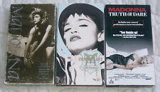 3 MADONNA VHS Tape 1983 1990 Music Video Like A Virgin 1991 Truth or Dare Movie