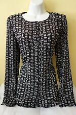 New Women's Forever 21 Black & White Long Sleeve Blouse Shirt Top Size S