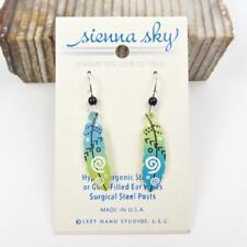 Sienna Sky Earrings Sterling Silver Hook Feather with Arrows in Blue and Green