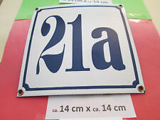 Hausnummer Nr. 21a blaue Zahl auf weißem Hintergrund 14 cm x 14 cm Emaille