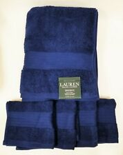 RALPH LAUREN GREENWICH 4 PC SET NAVY BLUE,100% COTTON 1 BATH+3 WASH CLOTH TOWELS