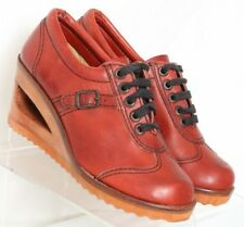 QualiCraft Casualets Vintage Red 1970's Wood Heel Oxford 77586 Women's US 5 B