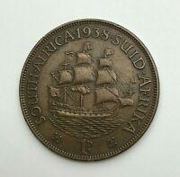 Dated : 1938 - South Africa - One Penny - 1d Coin - King George VI
