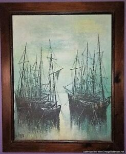 Original Abstract Oil Painting Luc Verger European Contemporary Boat Mariner 60s