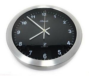"10"" Contemporary Atomic Radio Controlled Analog Wall Clock Black"