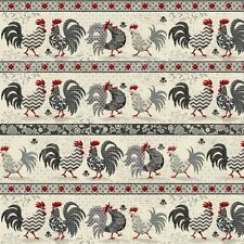 Fat Quarter Poulets de Provence Chickens Stripe 100% Cotton Quilting Fabric