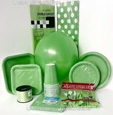 Lime Green Party Paper Plates Napkin Cup Cutlery Table Covers Balloons Tableware