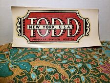 Vintage water decal slide Todd New York Products Division TX Houston Decals